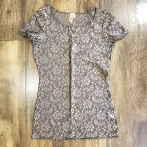 Buckle Brown Lace Top